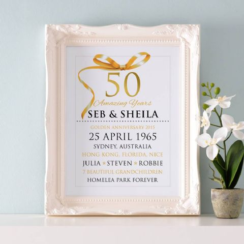 Personalised Golden Wedding Anniversary Typography